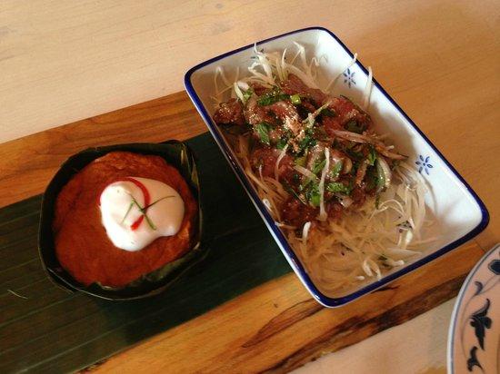 Sabai Sabai Kitchen and Bar: Steamed thai fish custard and angus beef salad