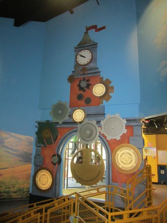 San Luis Obispo Children's Museum: kids can swing in the pendulum of the clock