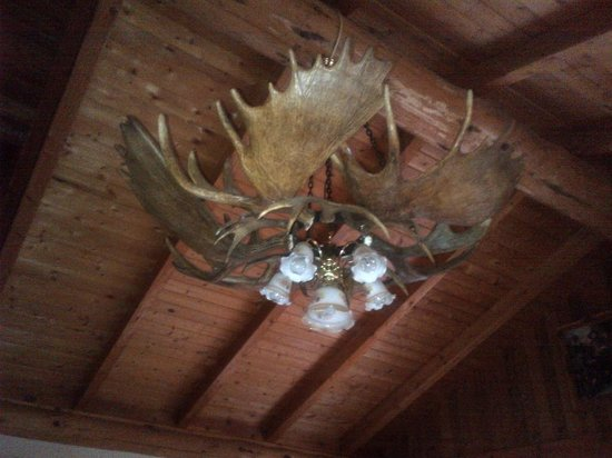 Chandelier in the dining room from moose antlers picture of bear bear paw ranch resort chandelier in the dining room from moose antlers mozeypictures Choice Image