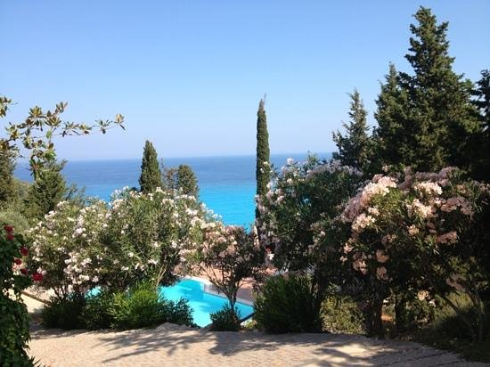 Myrto Vacation Relaxing Homes: beautiful view from the lower terrace over the swimming pool and the Ionian Sea