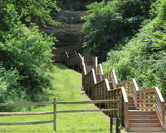 Indian Cave State Park: Steps leading to the cliff overhang with hieroglyphics. ©Tamara Hughbanks