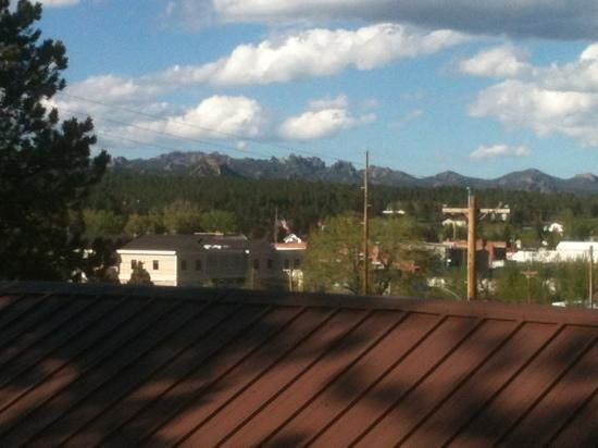 view of Cathedral Spires and Harney's Peak (Black Hills) from Bunk House at Shady Rest Motel