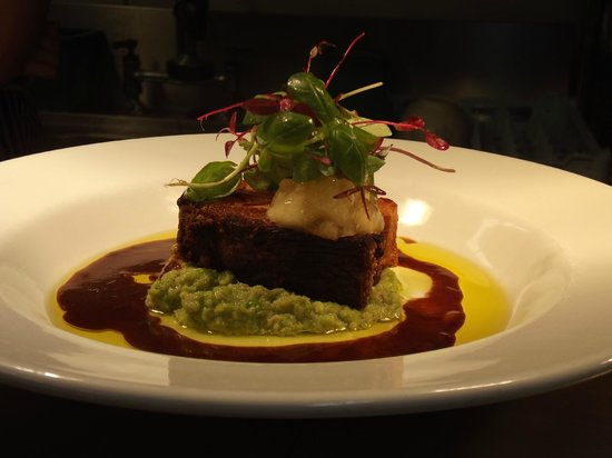 PAN ROASTED BELLY PORK ON PEA PUREE - Photo de Cheffins Restaurant, St ...
