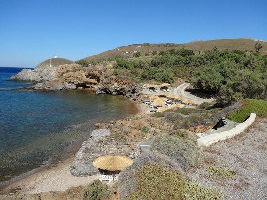 Andros Holiday Hotel: Vue sur la plage et l'environnement immédiat