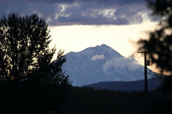 Burney Motel: View of distant Mount Shasta from rear lot.
