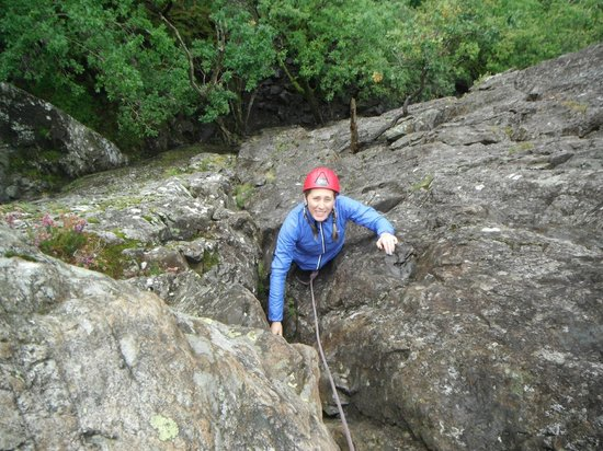 Crags Adventures: Michelle on brown slabs