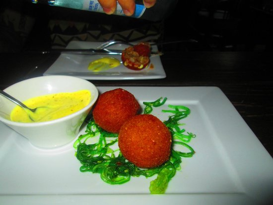 "Restaurant Fishalicious: ""Bitterballen"". An Island specialty. Its deep fried, filled with assorted fish and seafood"