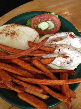 Blue Rooster Southern Grill: Chicken Sandwhich with Sweet Potatoe Fries