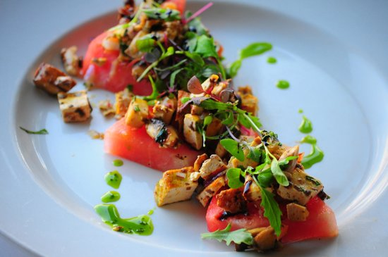 Red Lentil: Grilled Watermelon with tofu ceviche topped with micro arugula greens.
