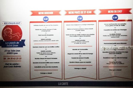Les Pavés de Saint Jean : Menu displayed in May 2013