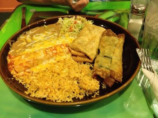 Fiesta Mexicana Family Restaurant: three item combo with pica chimichanga, chicken enchilada, and chili relleno