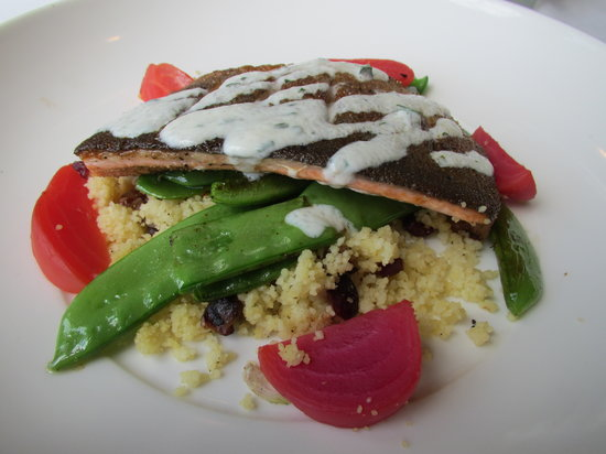 Inn On The Twenty Restaurant : Ontario Trout on Couscous, vegetables and fruits