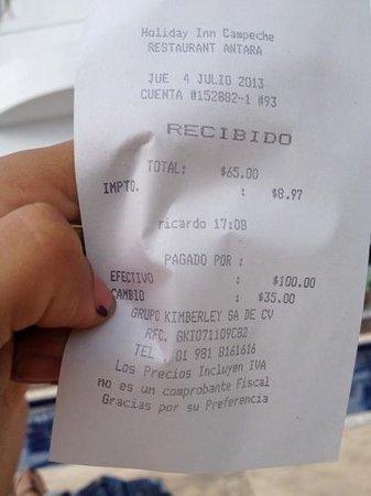 Holiday Inn Campeche: ticket Margarita con mosca