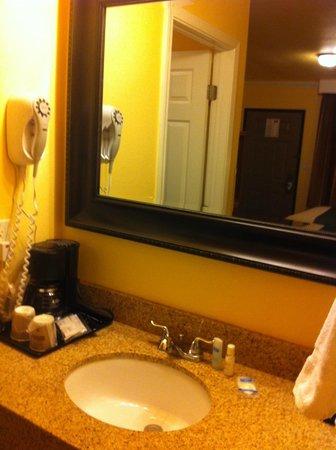 Rodeway Inn & Suites Near the Coliseum & Arena: Lavabo con secador y cafetera
