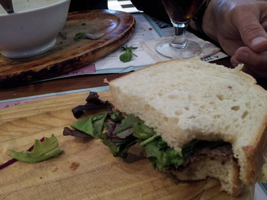 The Bakehouse: roast beef sandwich,the other half...gone in 60 seconds!
