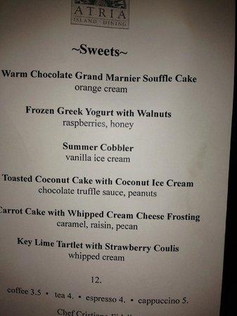 Atria : dessert menu