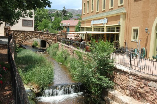 Downtown Manitou Springs: A stream-side cafe in Manitou