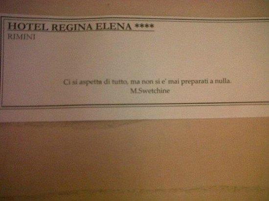 Hotel Regina Elena 57 : Bigliettino di benvenuto