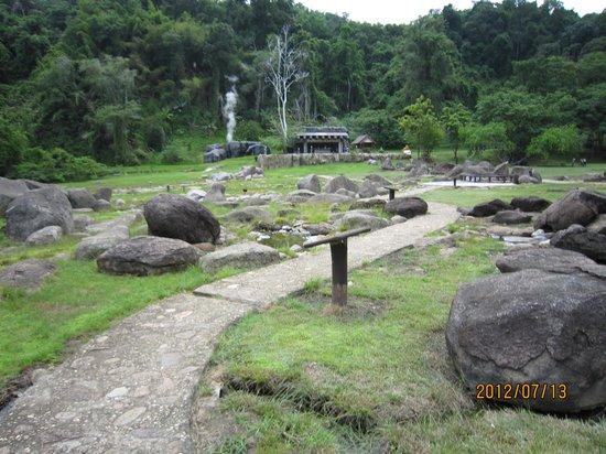 Doi Pha Hom Pok National Park: 遠方からファーン温泉、間欠泉噴く前