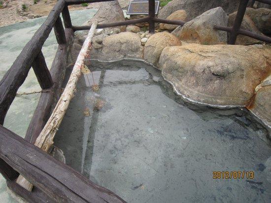 Doi Pha Hom Pok National Park: 玉子を温泉で茹でている最中