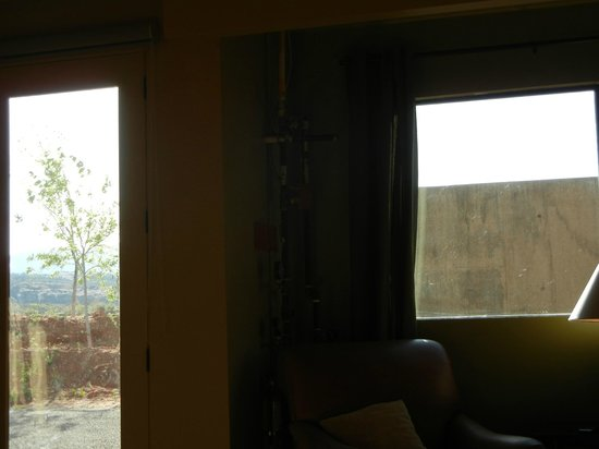 Crescent Moon Inn: View from the bedroom, including exposed hot H2O pipes