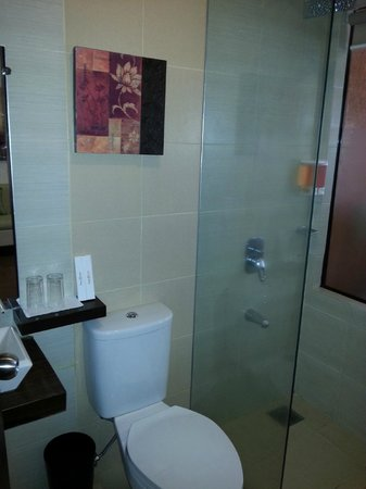 Home Crest Hotel: Small bathroom, good shower but no curtain!