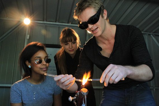 EON Glassblowing: Ian shows us girls how its done :)