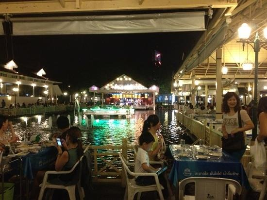 "Nathong Restaurant: the restaurant is on three corners of the ""pool"" with the band at the other end."
