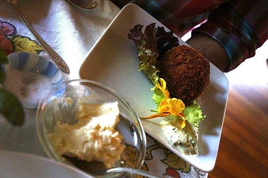 Nebo Lodge: Scotched Duck Egg, Chorizo, Cilantro Crème Fraiche