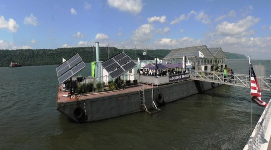 Science Barge solar panels and wind turbines