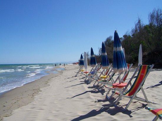 Villaggio Mondial Camping : La spiaggia attrezzata del camping Mondial