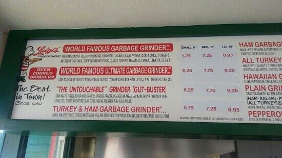Luigi's Italian Sandwiches: They're garbage Grindr menu