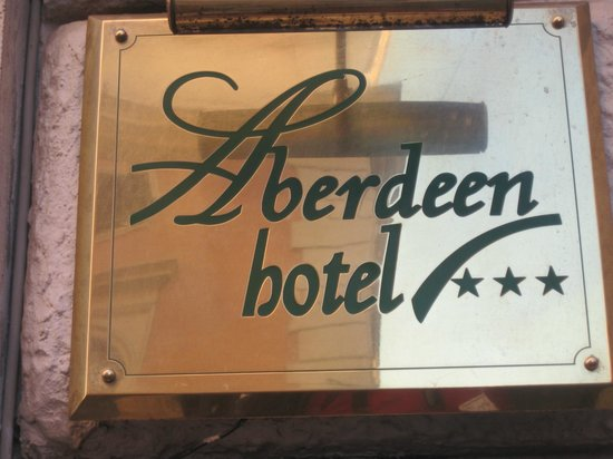 Aberdeen Hotel: Hotel sign - it shares the building with other tenants