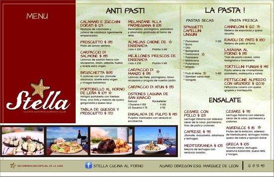 Stella menu picture of stella 39 s cucina al forno beach for Stellas fish cafe menu