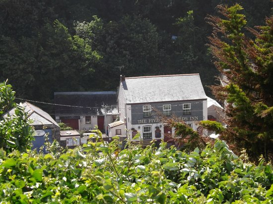 The Five Pilchards Inn: view from garden of where we stayed