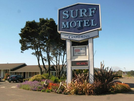 Surf Motel and Gardens: View as you enter, south of center of Fort Bragg