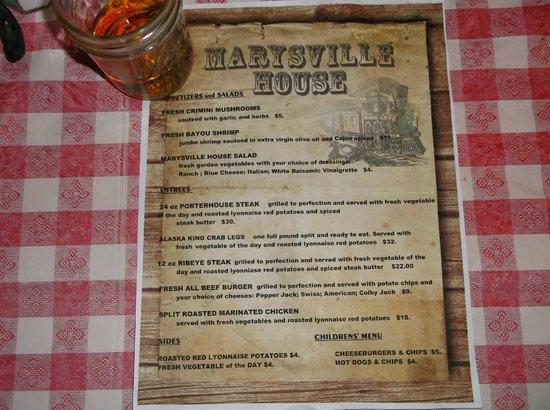 Marysville House Bar & Restaurant: Marysville House menu