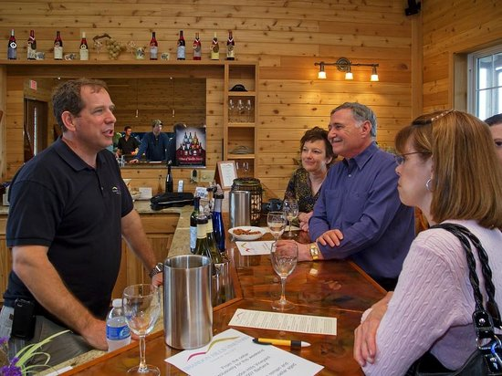 Brandon Hills Vineyards: Inside the tasting area - the owners are behind the counter