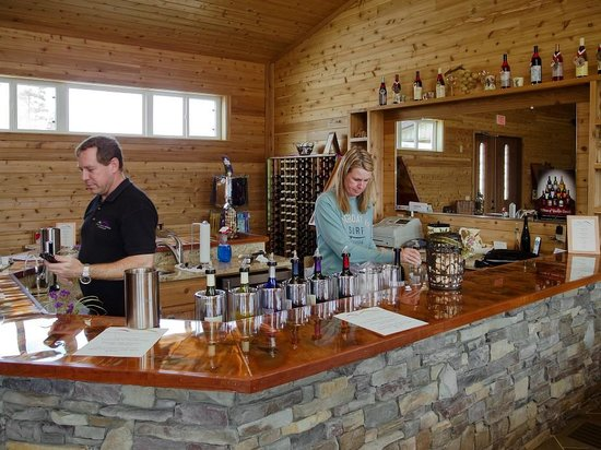 Yadkinville, NC: Another view of the tasting bar - owners are behind the counter