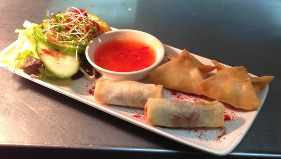 The Old Ginn House Inn: Starter - Duck spring Rolls and Mango & Brie Parcels