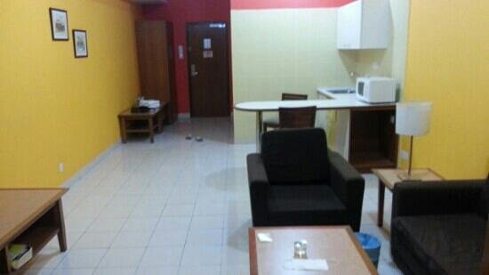 Cempaka Apartment Hotel Small Kitchen Beside Living Room Wuth Microwave Oven And