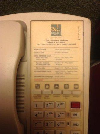 Quality Inn Opelika : Gross phone!!!