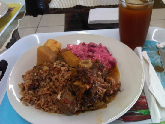 Caribbean Kalisi Coffee Shop: Oxtail stew with rice and beans, breadfruit, yuca, and plantain and ensalada rusa.  Hiel to drin