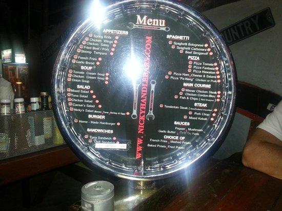Nicky's Handlebar Hotel : menu