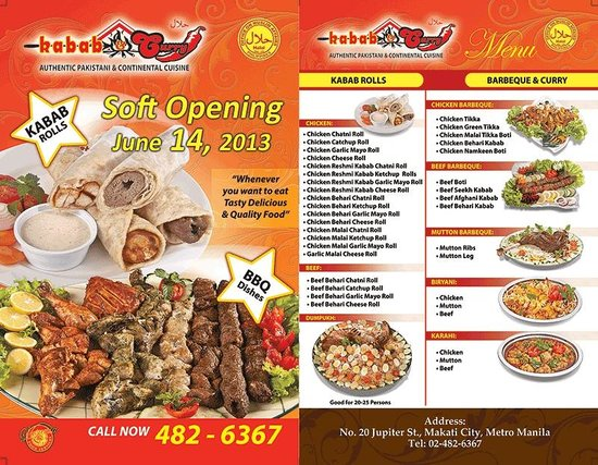 gilak by hossein flyer which has the menu for the halal pakistani restaurant