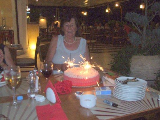 King Prawn Annas Birthday Cake Complete With Sparklers