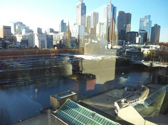 The Langham, Melbourne: View from our room on the 17th floor over the river looking towards Federation Square