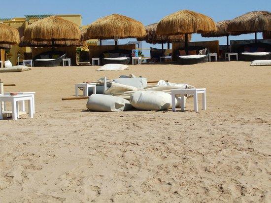 Moods Restaurant & Beach Club : Round sun beds & loungers