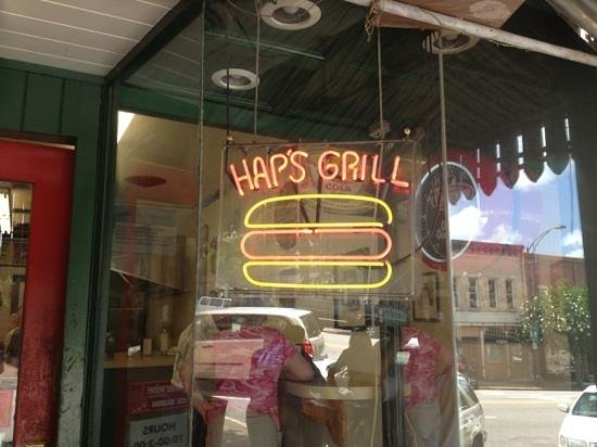 Hap's Grill: stop in, the dogs are great.