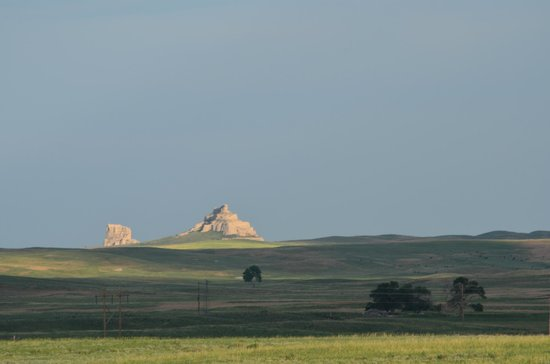Chimney Rock National Historic Site: Courthouse and Jail Rock as seen from Chimney Rock